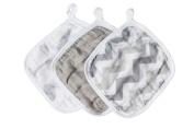 Bamboo Muslin Washcloths - 3 Pack - Grey Feather Chevron - Softest Muslin Washcloths by Cosy Babe