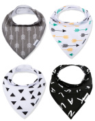 Baby Bandana Drool Bibs, Unisex 4 Pack 100% Organic Cotton Bib Set for Drooling and Teething, Soft and Absorbent, Hypoallergenic - for Boys and Girls by CAMIRUS
