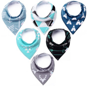 KiddyByte Baby Bandana Drool Bibs - Cute Design for Boys, Super Absorbent 100% Organic Cotton for Drooling Teething and Feeding, Perfect Baby Shower and Newborn Registry Gift Set
