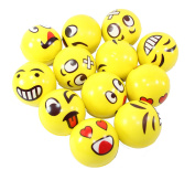 Set of 12 Assorrted Big Happy Face Fun Emoji Hand Wrist Finger Exercise Stress Relief Therapy Squeeze Ball …