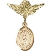14kt Yellow Gold Baby Badge with Our Lady of Fatima Charm and Angel w/Wings Badge Pin 2.5cm X 1.9cm