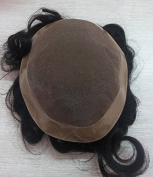 "Quercy Hair 130% Density Men Hair Toupee 7""9"" Size, Black Colour, Hair Length 6 Inch"