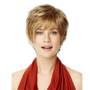 Asifen Natural Short Fluffy with Bangs Real Human Hair Mixed Healthy Synthetic Wigs for Women