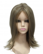 Shoulder-length Natural Layered Synthetic Hair Full Wigs for Womens Heat Resistant Daily Hair Wig with Bangs
