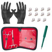 Dermal Anchors Kit 2 Forceps with 11 Clear Dermal Tops Gloves Pouch and Dermal Punch