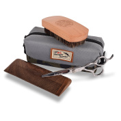 Beaver Scooter Premium Beard and Moustache Grooming Set - Includes Beard Brush Beard Comb Beard Trimming Scissors with Toiletry Bag