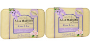 A La Maison de Provence Rose Lilac Soap Bar (Pack of 2) With Shea Butter, Coconut Oil and Argan Oil, 260ml Each