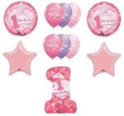 #1 First One 1st GIRL Princess Tiara Pink Stars (11) Birthday Party Balloons Set by LGP