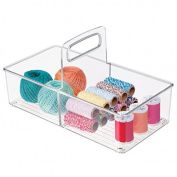 mDesign Craft and Sewing Storage Organiser Tote with Handle for Glitter, Yarn – Clear