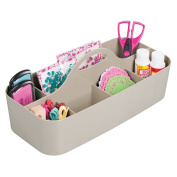 mDesign Art Supplies, Crafts. Crayons and Sewing Organiser Tote - Large, Taupe