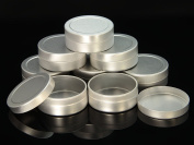 WellieSTR 20 Pieces 10ml Aluminium Empty Container Jar Silver Tins for storage rings chains Trinkets Cream Cosmetic Pots Lip Balm