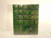 Green Stitched Leather Tiles with Handmade Natural Paper Artist Writing Journal Handcrafted in India