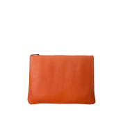 DUDU Clutch Bag Purse with Handle for ladies and men in Real Leather Slim & Large Handbag with Zipper closure Orange