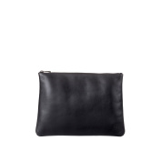 DUDU Clutch Bag Purse with Handle for ladies and men in Real Leather Slim & Large Handbag with Zipper closure Black