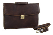 Folder PIERRE CARDIN bag office professional brown in leather Made in Italy VH10