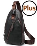 FreeMaster Men's Vintage Pu Leather Shoulder Bag Sling Chest Bags Crossbody Hiking Satchel Cool Small Backpack Messenger Bag