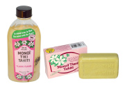 Monoi Tiki Tahiti Ylang Ylang and Monoi Tiare Tahiti Ylang Ylang Soap Bar Bundle With Tiare Flowers and Coconut Oil, 120ml and 130ml