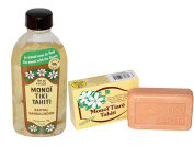 Monoi Tiki Tahiti Santal Sandalwood and Monoi Tiare Tahiti Coconut Oil Soap Bundle With Coconut Oil and Vitamin E, 120ml and 130ml