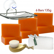 6 Bars of Kojie San Skin Lightening Kojic Acid Soap 135g ,Leafa Soap Net ,Soap Dish and Brush