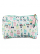 Succulents Print Cosmetic Makeup Bag or Potted Cactus Pouch Wallet