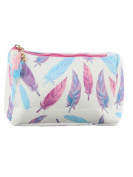Feathers Print Cosmetic Makeup Bag or Feather Pouch Wallet