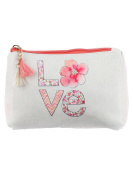 LOVE Flowers Print Cosmetic Makeup Bag or Floral Pouch Wallet