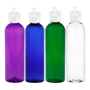 MoYo Natural Labs BPA Free Psychedelic Squeeze Bottles with Flip Top Dispensing Cap Spout Top Green Blue Purple Clear White Pack of 4