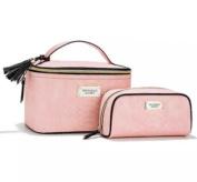 Victoria Secret Train Case Duo VS Beauty Makeup Bag Travel Tote Pink Python Set