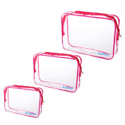 BCP 3Pcs Different Size Waterproof Transparent PVC Toiletry Travel Carry Pouch Bag With Zipper For Cosmetic Makeup Storage Bag Pouch