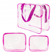 Clear Transparent Vinyl Travel Toiletry Cosmetic Trio Bags, Water Resistant PVC Packing Cubes with Zipper Closure & Carry Handles for Baby Women Men Shaving kit, Beach Pool Bag, Makeup Case, Hot Pink