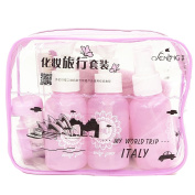 10 PCS Fashion Portable Travel Makeup Cosmetic Liquid Bottles Toiletries Containers Accessories Set with Toothbrush Mirror Comb Towel Zipper Storage Bag Light Purple