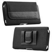Iphone 6 Plus Holster, Black Nylon Pouch Case with Loops Belt Clip, Card ID Holder Wallet Case Kaede [Screen Guard] Protector for Apple Iphone (6 PLUS)