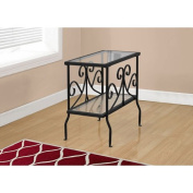 Hawthorne Ave Accent Table - Black Metal with Tempered Glass