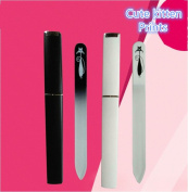 XICHEN 2 installed Glass nail files with individually packaged - Cute kitten prints Black White
