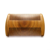 ZoCr Natural Green Sandalwood Handmade Comb Pocket Comb - No Static Premium Quality Wood Hair and Beard Comb Detangling Comb - Double Sided Teeth With Wide Teeth & Fine Teeth