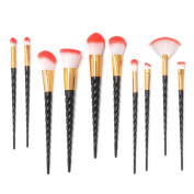 14PCS Makeup Brushes Set, MYSWEETY Unicorn Makeup Brushes 10Pcs Foudation Makeup Brush Set Eyebrow Eyeliner Blush + 2Pcs Silicone Makeup Sponge + 1pc Makup Wash Egg + 1pc Makeup Brush Bag