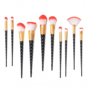 14PCS Makeup Brushes Set, MYSWEETY Unicorn Makeup Brushes 10Pcs Foudation Makeup Brush Set Eyebrow Eyeliner Blush + 2Pcs Silicone Makeup Sponge + 1pc Makup Wash Egg + 1pc Makeup Brush Bag