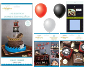 Celebration Shoppe by Kim Byers Pirate Theme Bundle of 3 Party Kits - Cake Decorating, Banner & Accessories, and Favour Boxes - for Child's Birthday Party Decor