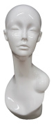 Female Glossy White Mannequin Head Stand 48cm H