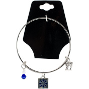 Charming Accents Adjustable Charm Bangle 19cm -Blue Quilt Block