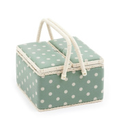 Hobby Gift 'Moss Polka Dot' Twin Lid Large Square Sewing Box 25 x 25 x 17cm