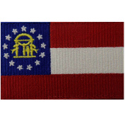 Georgia State Flag Embroidered Emblem Iron On Sew On GA Patch