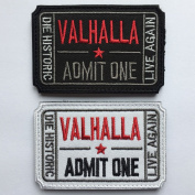 SpaceAuto Bundle 2 Pieces Ticket to Valhalla Admit One Die Historic Live Again 3D Embroidered Tactical Morale Badge Hook & Loop Patch 7.6cm 5cm Sized