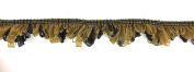 Decorative 2.5cm - 1.3cm ORGANZA FRINGE Gold / Black for Clothing ,Pillows, Lamps, Draperies 5 Yards Pi-129/108