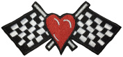 Love racing size 5.5cm.x11.5cm. biker heavy metal Horror Goth Punk Emo Rock DIY Logo Jacket Vest shirt hat blanket backpack T shirt Patches Embroidered Appliques Symbol Badge Cloth Sign Costume Gift