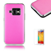 For Samsung Galaxy J1 (2016 Model) Case [with Free Screen Protector].Funyye Hard PC Stylish 2 in 1 Ultra-thin Premium Electroplating Plated Frame Bumper Protective Back Cover for Samsung Galaxy J1 (2016 Model)-Hot pink