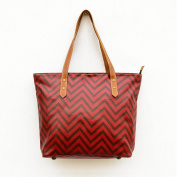 Red Tote bag, laminated cotton, chevron print, sheen finish, leather trims, zip closure, everyday bag.