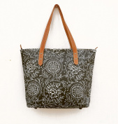 Tote bag, laminated cotton, grey floral print, kalamkari, folk, matt finish, leather trims, zip closure, everyday bag.