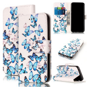 For Samsung Galaxy S7 Marble Case, Sunroyal Magnetic Closure Creative Marble Stone Ultra Slim PU Leather Wallet Card Pockets Kickstand Feature Flip Full Body Protective Case Cover for Samsung Galaxy S7 G9300 - Blue Butterfly