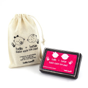 Baby Safe Ink Pad - Baby Hand print and Footprint kit with Drawstring Bag - neon pink ink pad for hand and foot prints – easy to wash off